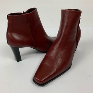 Deep Burgandy Square Toe Heeled Leather Ankle Boot